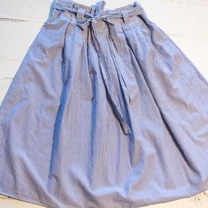 Blue White Pinstripe Pleated Gathered Full Skirt